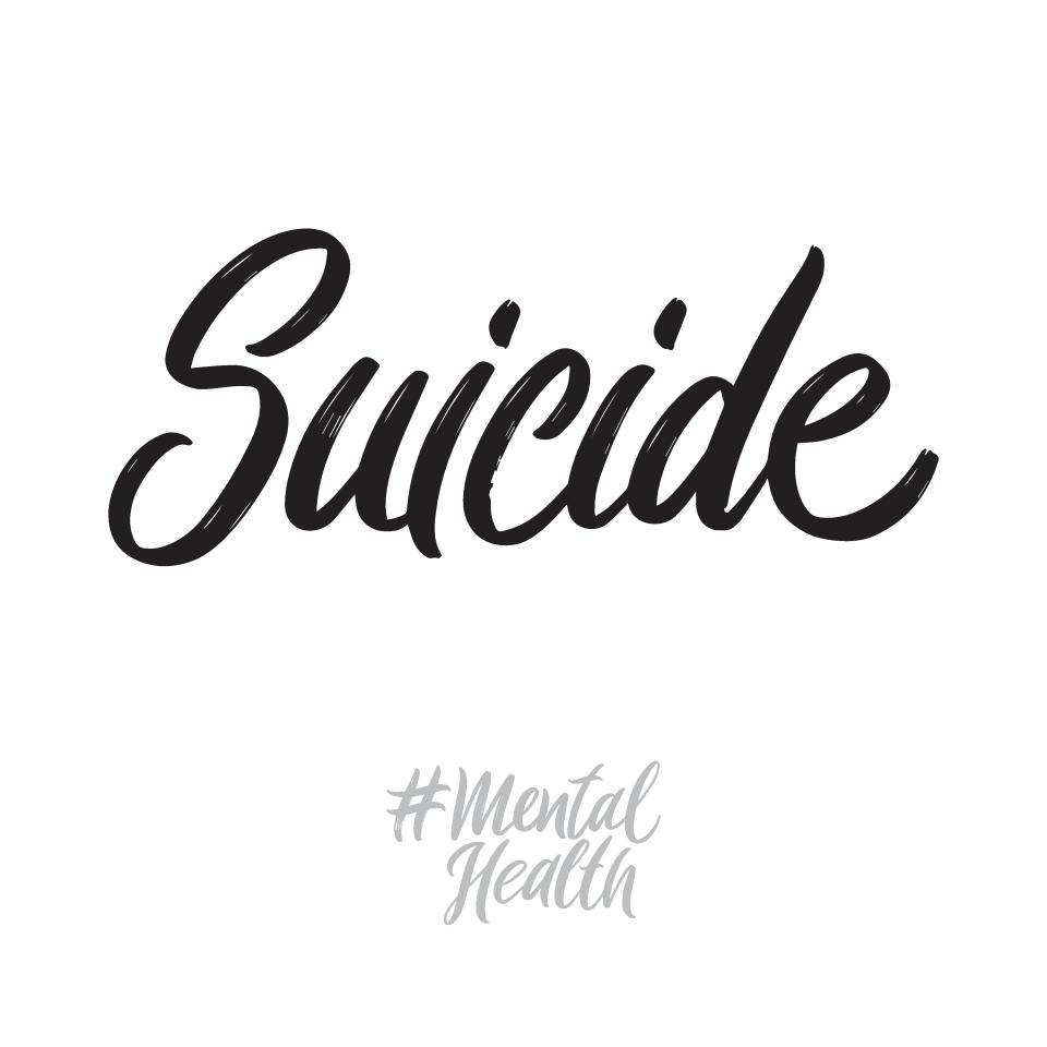 Mental health hand written lettering words: suicide. Psychotherapy vector design on white background