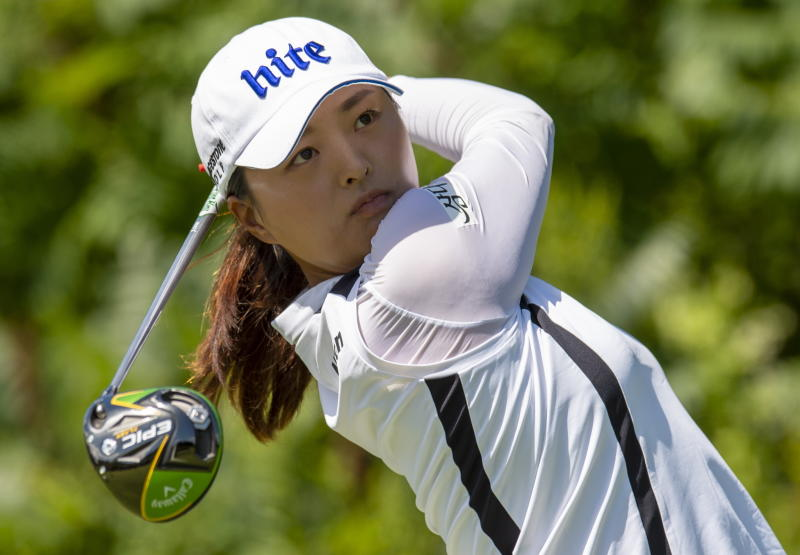 Jin Young Ko of South Korea watches her tee shot on the ninth hole during the final round of the CP Women's Open in Aurora, Ontario, Sunday, Aug. 25, 2019.  (Frank Gunn/The Canadian Press via AP)