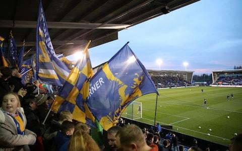 Shrewsbury Town fans wave flags inside the stadium - Credit: REUTERS