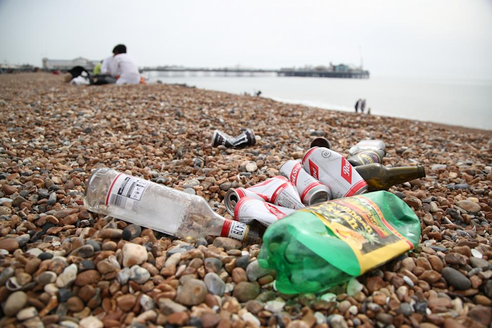 Discarded rubbish left by beachgoers at Brighton Beach, East Sussex. Picture date: Wednesday March 31, 2021. The UK may be about to experience its hottest March on record with temperatures forecast to soar to around 25C (77F).