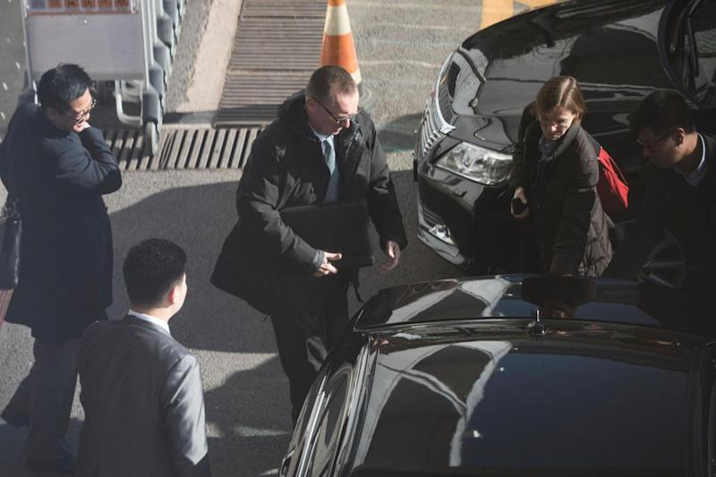 Jeffrey Feltman arrives to take a flight for North Korea at the International Airport of Beijing (AFP/Getty Images)