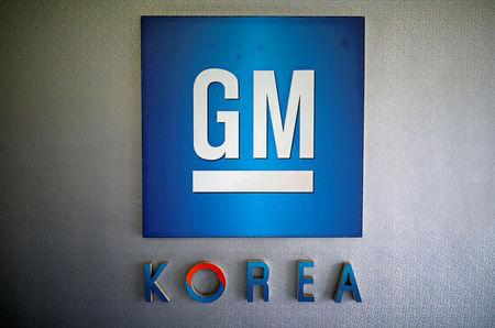 The logo of GM Korea is seen at its Bupyeong plant in Incheon