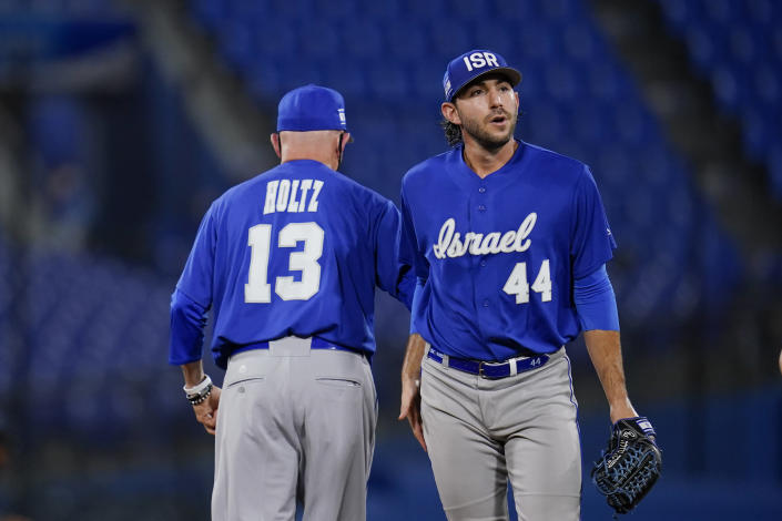 Israel pitcher Zachary Weiss walks off the mound during the seventh inning a baseball game against South Korea at the 2020 Summer Olympics, Thursday, July 29, 2021, in Yokohama, Japan. (AP Photo/Sue Ogrocki)