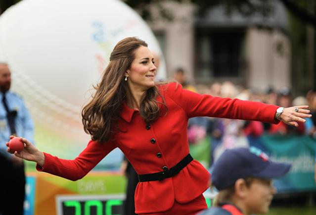 CHRISTCHURCH, NEW ZEALAND - APRIL 14: Catherine, Duchess of Cambridge throws a soft cricket ball during a game of cricket during the countdown to the 2015 ICC Cricket World Cup at Hagley Oval on April 14, 2014 in Christchurch, New Zealand. The Royal couple are currently in New Zealand and touring the country until Wednesday, when they then head to Australia. Today the Royals visit the redevelopments at Hagley Oval, the venue for ICC Cricket World Cup 2015 matches in Christchurch. (Photo by Joseph Johnson/Getty Images for ICC Cricket World Cup)