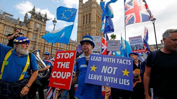 PHOTO: Anti-Brexit protesters march outside the Houses of Parliament in central London on September 3, 2019. (Tolga Akmen/AFP/Getty Images)