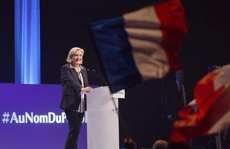 Marine Le Pen, French National Front (FN) political party candidate for French 2017 presidential election attends a political meeting in Nice