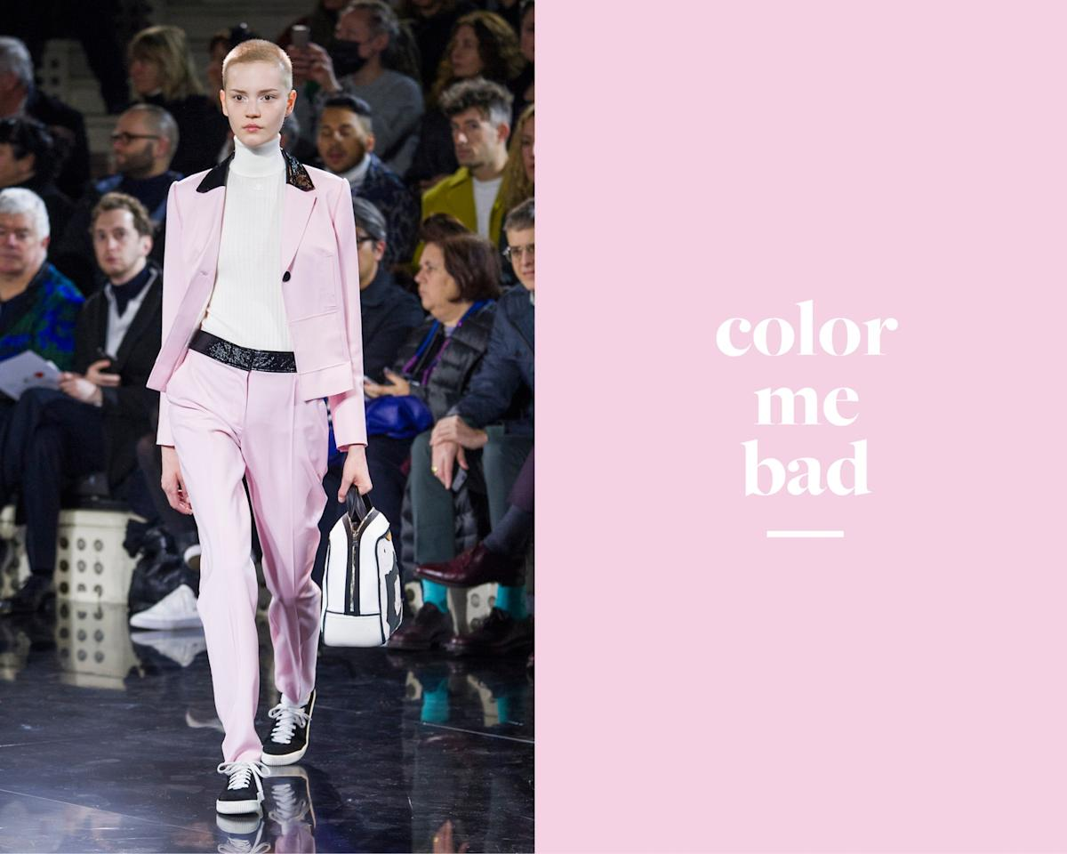 <p>A model walks down the Courreges Fall/Winter 2016 show wearing a blush pink colored suit. One of many colored suits that made an appearance on the runway. <em>(Photo: ImaxTree)</em> </p>