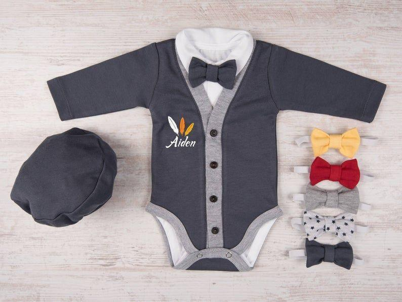 """<p><strong>Baby Bodysuits</strong></p><p>etsy.com</p><p><strong>$34.11</strong></p><p><a href=""""https://go.redirectingat.com?id=74968X1596630&url=https%3A%2F%2Fwww.etsy.com%2Flisting%2F554529766%2Ffirst-thanksgiving-outfit-boy&sref=https%3A%2F%2Fwww.goodhousekeeping.com%2Fholidays%2Fthanksgiving-ideas%2Fg23100250%2Fbest-baby-thanksgiving-outfits%2F"""" rel=""""nofollow noopener"""" target=""""_blank"""" data-ylk=""""slk:Shop Now"""" class=""""link rapid-noclick-resp"""">Shop Now</a></p><p>In addition to the personalized cardigan, this set comes with a cap and a bow tie of your choice — a one-stop shop for a three-piece outfit.</p>"""