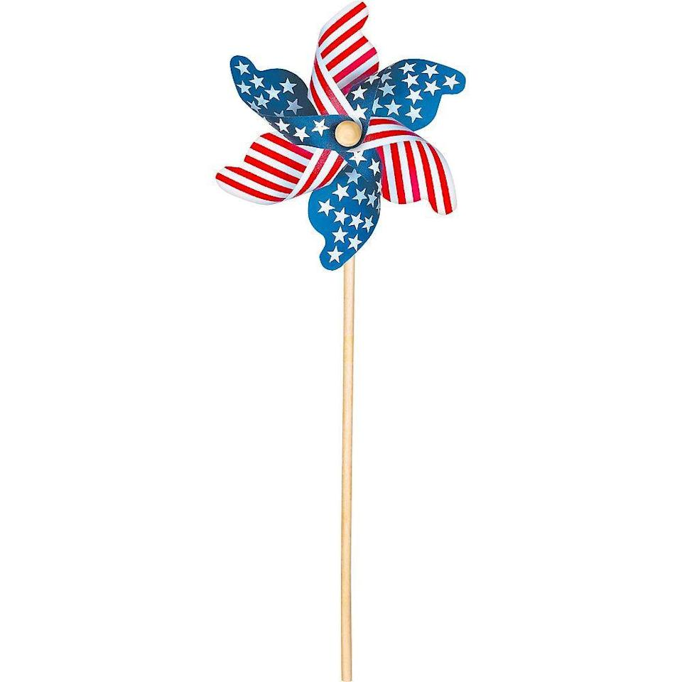 """<p>partycity.com</p><p><strong>$2.99</strong></p><p><a href=""""https://go.redirectingat.com?id=74968X1596630&url=https%3A%2F%2Fwww.partycity.com%2Fpatriotic-american-flag-pinwheel-39761.html%3Fcgid%3D4th-of-july-decorations&sref=https%3A%2F%2Fwww.womansday.com%2Fhome%2Fdecorating%2Fg2441%2Ffourth-of-july-decorations%2F"""" rel=""""nofollow noopener"""" target=""""_blank"""" data-ylk=""""slk:Shop Now"""" class=""""link rapid-noclick-resp"""">Shop Now</a></p><p>Spruce up your yard with some patriotic spinning wheels. </p>"""