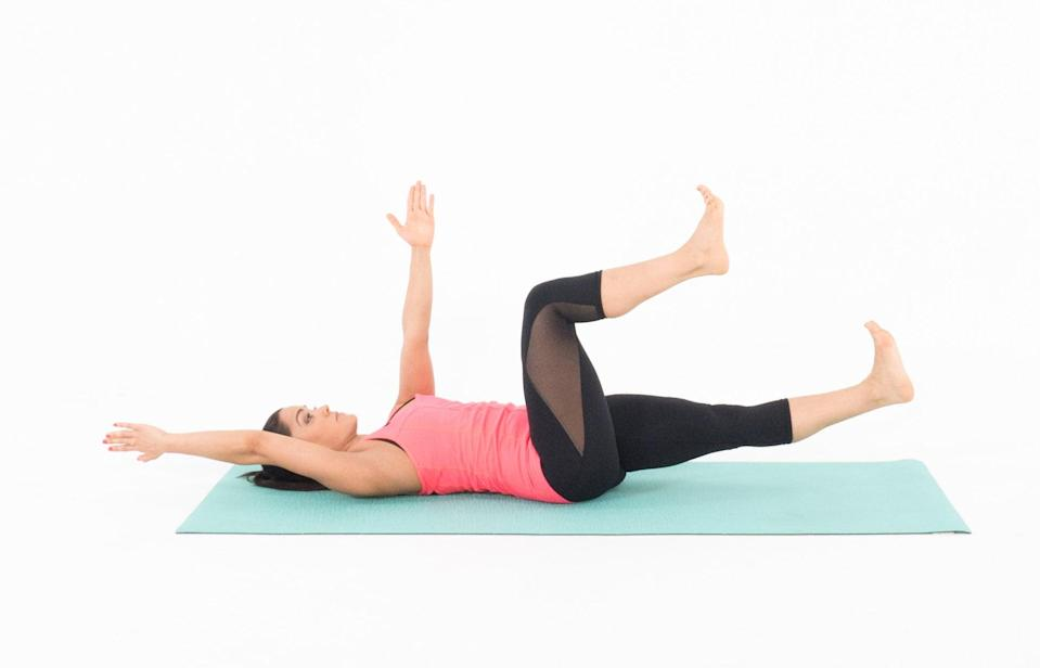 """<p>""""Dead bugs help with core stability,"""" said <a href=""""https://www.instagram.com/morganreesfit"""" class=""""link rapid-noclick-resp"""" rel=""""nofollow noopener"""" target=""""_blank"""" data-ylk=""""slk:Morgan Reese"""">Morgan Reese</a>, an ACE-certified personal trainer in Los Angeles. This exercise improves your ability to move other parts of your body (like your legs and arms) while the core stays stable and engaged. </p> <ul> <li>Lie on the floor with knees bent at 90 degrees and your feet lifted off the floor.</li> <li>Extend your arms up toward the ceiling.</li> <li>Reach back with your right arm and out with your left leg. Keep your lower back flat on the floor.</li> <li>Pause, then return to the starting position.</li> <li>Repeat on the other side. This completes one rep.</li> </ul>"""