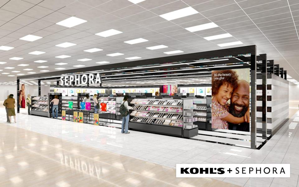 """A rendering of the """"Sephora at Kohl's"""" locations launching at 200 stores in the fall of 2021."""