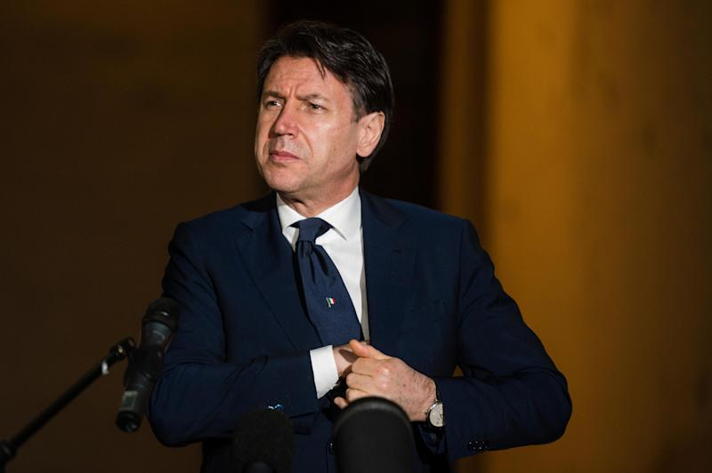 CREMONA, ITALY - APRIL 28: Italian prime minister Giuseppe Conte makes a statement to the journalists on April 28, 2020 in Cremona, Italy. Italy will remain on lockdown to stem the transmission of the Coronavirus (Covid-19), slowly easing restrictions. (Photo by Marco Mantovani/Getty Images)