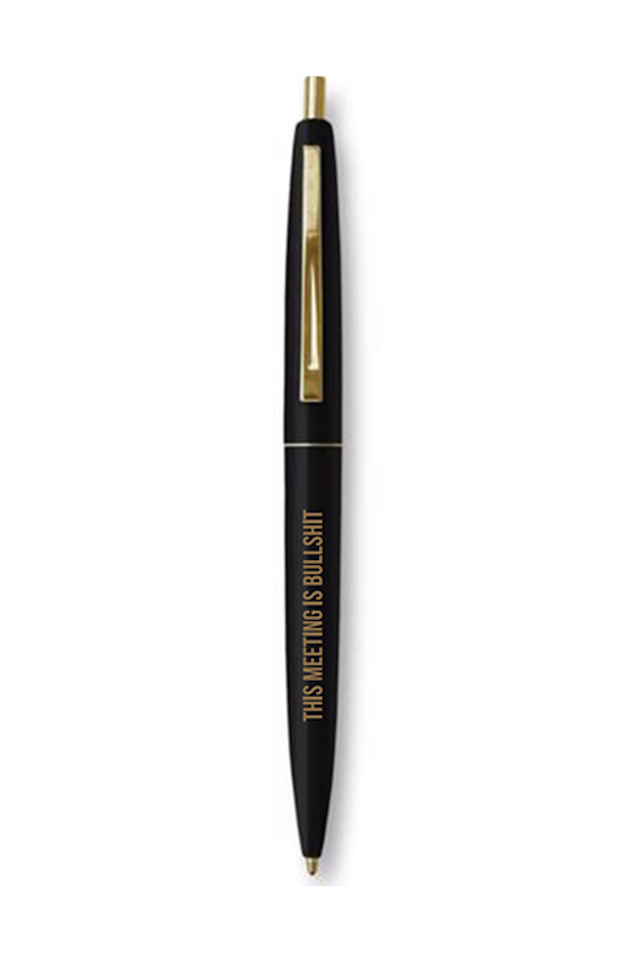 """<p><em>Bulletin pen, $4</em></p><p><a rel=""""nofollow"""" href=""""https://bulletin.co/collections/candles/products/this-meeting-is-bullshit-pen-1"""">SHOP IT</a></p><p>We've all been in meetings that seem to never end. Make those more bearable in the new year with a """"This meeting is bullshit"""" writing utensil. You just might find your coworkers-or even boss-hiding a little chuckle.</p>"""
