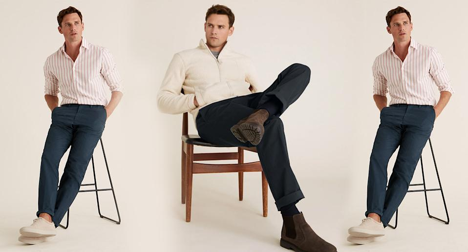 M&S' top-rated £19.50 men's chinos come with extra stretch. (Marks & Spencer)
