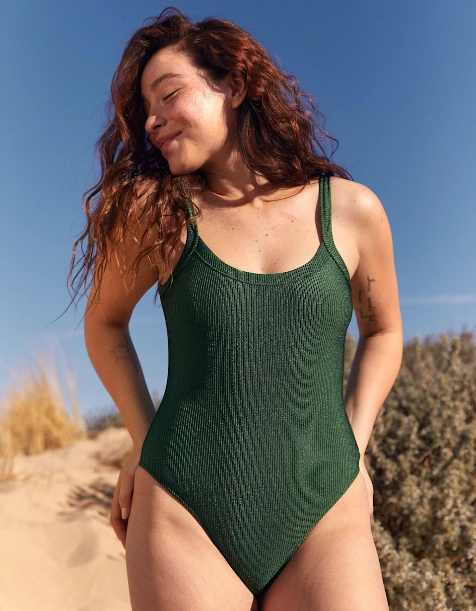 <p>You can't go wrong with the fit or color of this <span>Aerie Ribbed Shine Scoop One Piece Swimsuit</span> ($20, originally $50).</p>