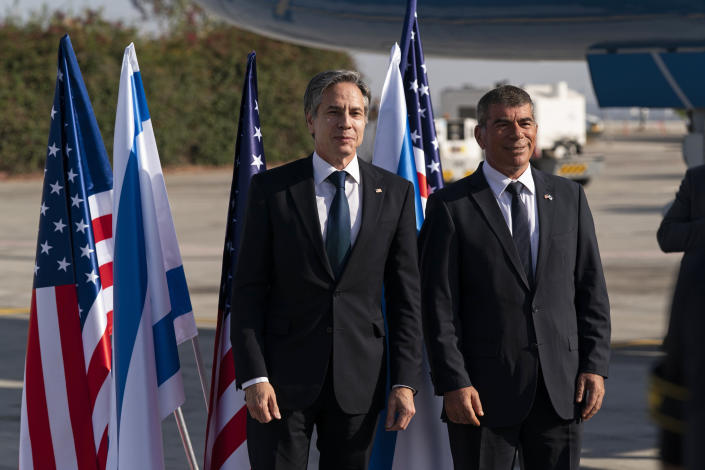 Secretary of State Antony Blinken, left, stands with Israeli Foreign Minister Gabi Ashkenazi, upon arrival at Tel Aviv Ben Gurion Airport, Tuesday, May 25, 2021, in Tel Aviv, Israel. Blinken has arrived in Israel at the start of a Middle East tour aimed at shoring up the Gaza cease-fire. (AP Photo/Alex Brandon, Pool)