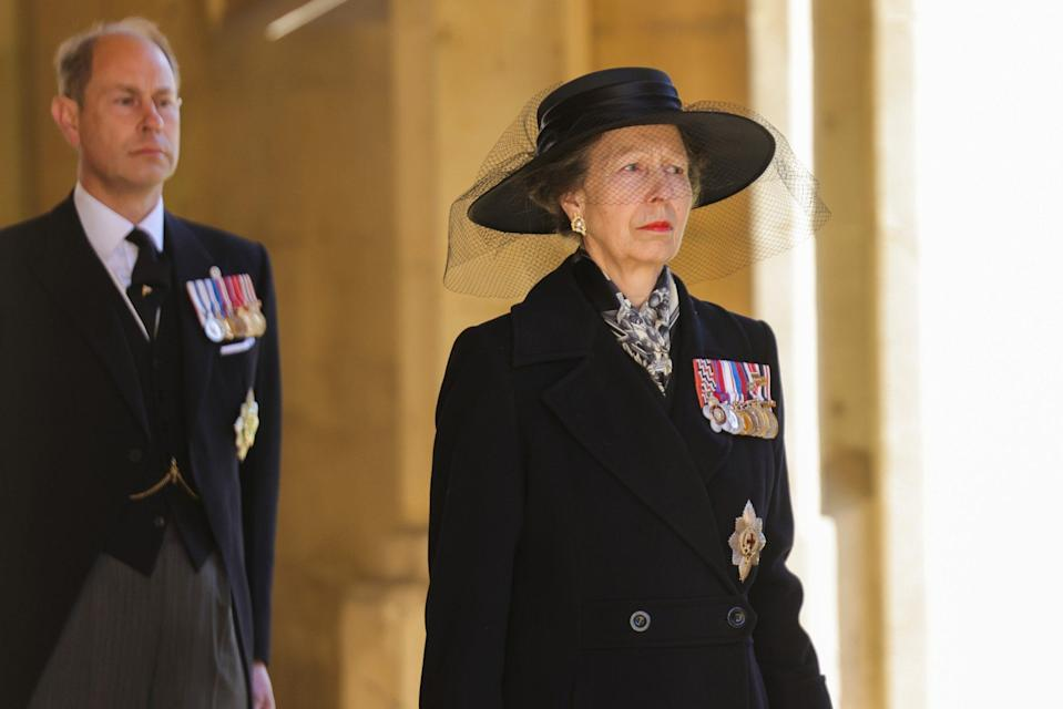 Princess Anne wearing gold and pearl earrings to Prince Philips funeral - Chris Jackson/WPA Pool/Getty Images