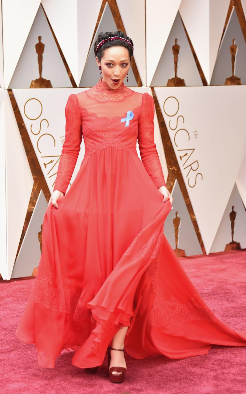 Actor Ruth Negga attends the 89th Annual Academy Awards - Credit: Getty