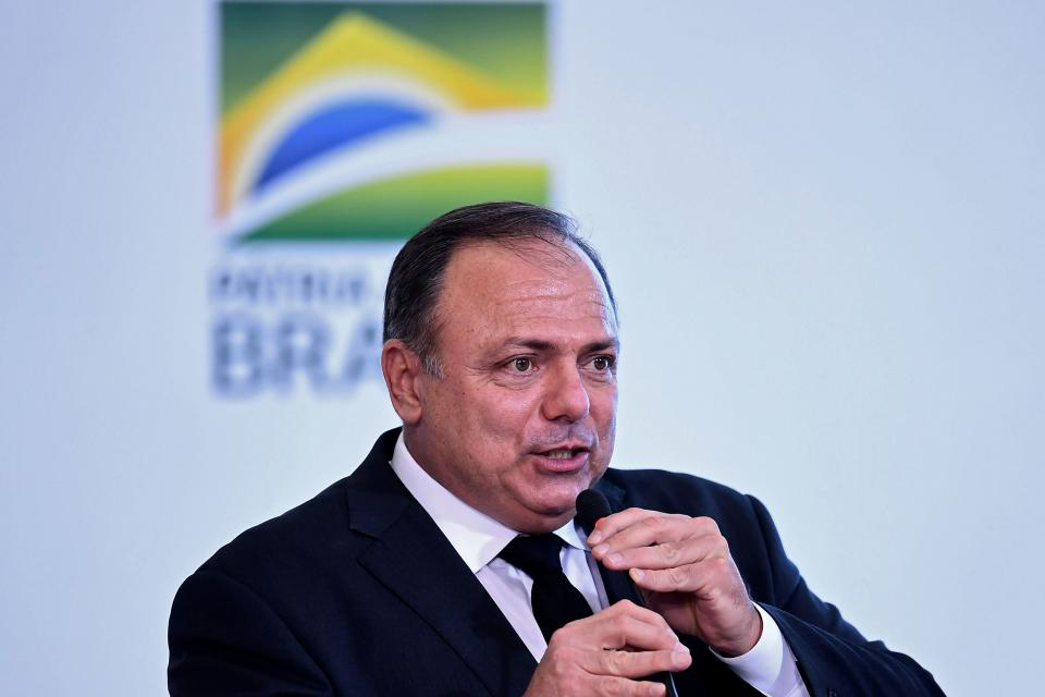 Brazilian Health Minister Eduardo Pazuello delivers a speech during a ceremony to launch the Genomas Project at Planalto Palace in Brasilia on October 14, 2020. - The Genomas Project aims at making a population study to identify rare diseases by sequencing the DNA of 100,000 Brazilians. (Photo by EVARISTO SA / AFP) (Photo by EVARISTO SA/AFP via Getty Images)