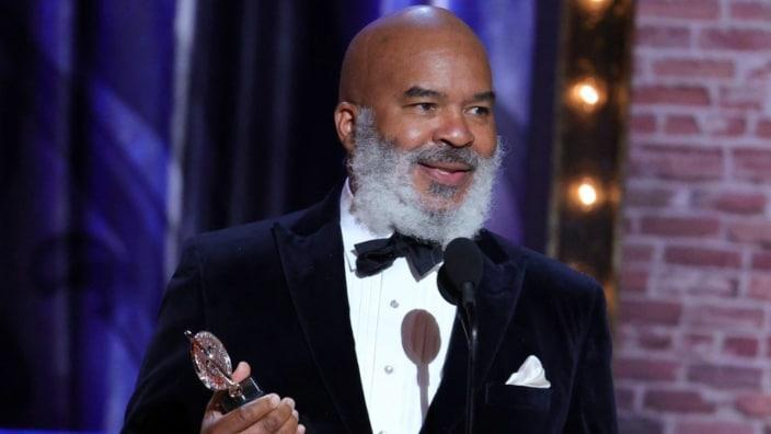 """David Alan Grier accepts the award for Best Performance by an Actor in a Featured Role in a Play for """"A Soldier's Play"""" during Sunday's 74th Annual Tony Awards at Winter Garden Theatre in New York City. (Photo by Theo Wargo/Getty Images for Tony Awards Productions)"""