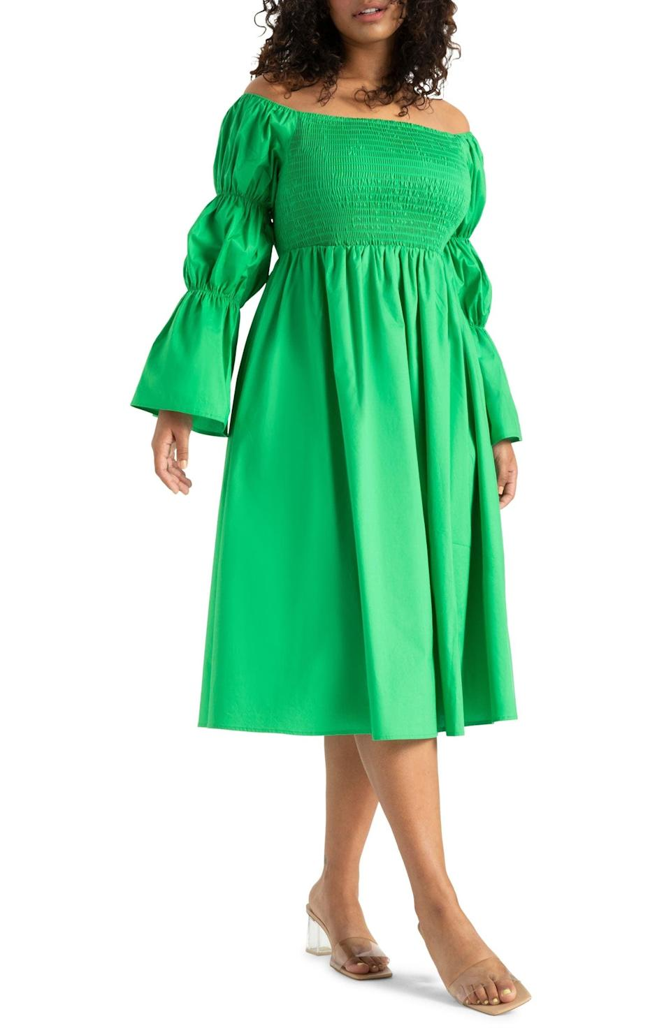 <p>For something a bit more dressy, go for this <span>ELOQUII Off the Shoulder Long Sleeve Midi Dress</span> ($72, originally $120).</p>
