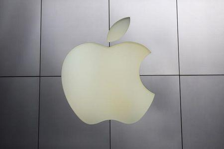 The Apple logo is pictured at its flagship retail store in San Francisco