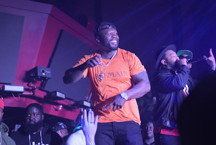 50 Cent toasts the game with EFFEN<strong>&reg;</strong> Vodka at The Playboy Party with TAO at Spire Nightclub.