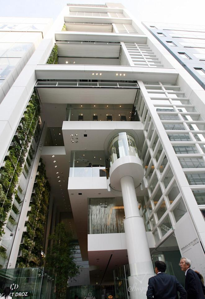 Completed in 2007 and located in Tokyo, Nicolas G. Hayek Center is the latest headquarters for Swatch Group Japan. Designed by Shigeru Ban, the multilevel building has an exposed elevator and a green wall, both of which give the structure a lot of character in the busy Ginza district.