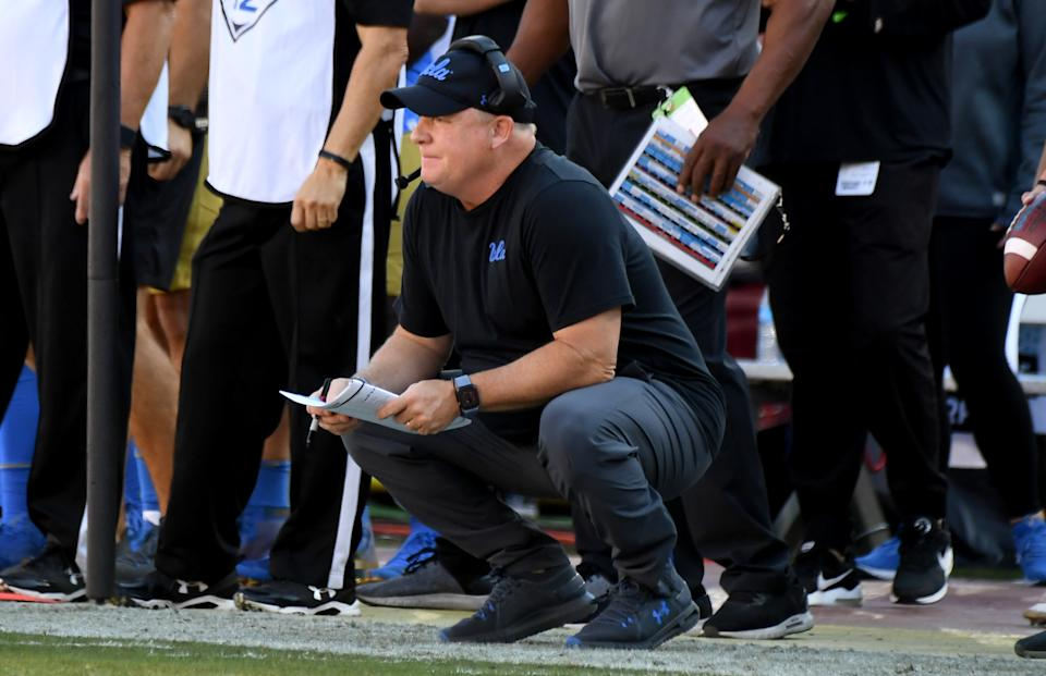 LOS ANGELES, CA - NOVEMBER 23: Head coach Chip Kelly of the UCLA Bruins looks on against USC Trojans in the first half of a NCAA football game at the Los Angeles Memorial Coliseum on Saturday, November 23, 2019 in Los Angeles, California. (Photo by Keith Birmingham/MediaNews Group/Pasadena Star-News via Getty Images)