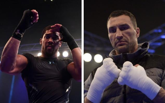 Joshua and Klitschko at their open workout yesterday