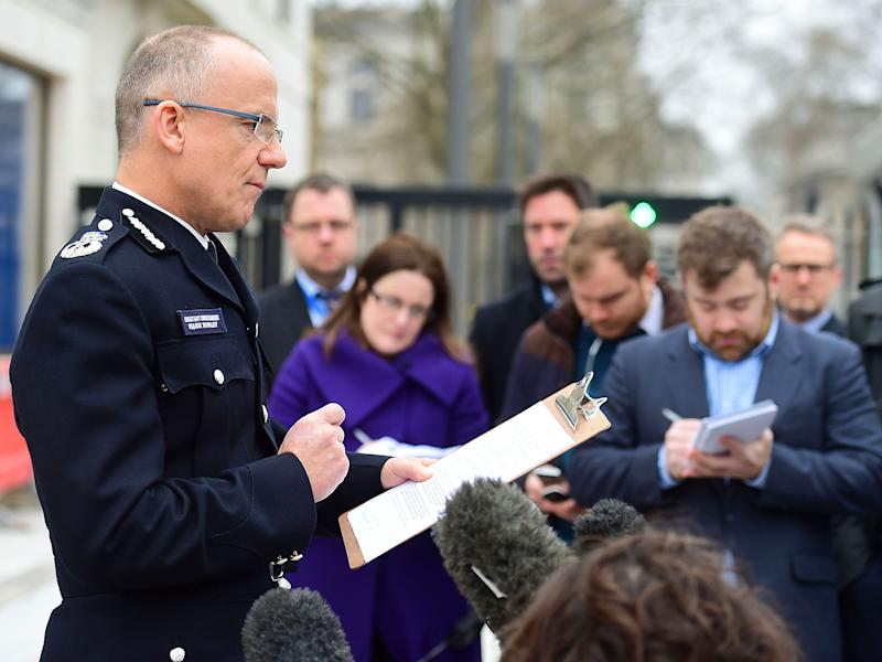 Mark Rowley, Acting Deputy Commissioner of the Metropolitan Police, speaks to the media outside New Scotland Yard in London: PA