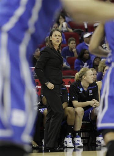 Duke's head coach Joanne P. McCallie paces the sideline during the first half against Stanford in a NCAA women's tournament regional final college basketball game, Monday, March 26, 2012, in Fresno, Calif.(AP Photo/Rich Pedroncelli)