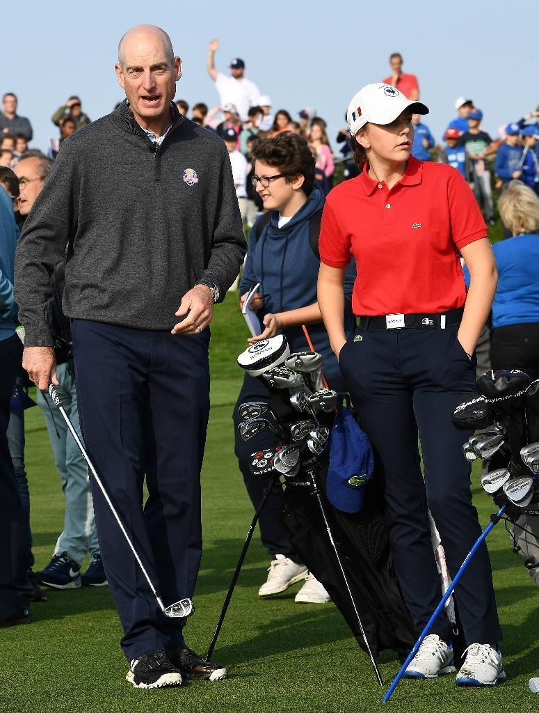USA's Ryder Cup captains Jim Furyk (L), seen during the 2018 Ryder Cup media day at the Golf National in Guyancourt, near Paris, the venue of the event, on October 16, 2017 (AFP Photo/FRANCK FIFE)