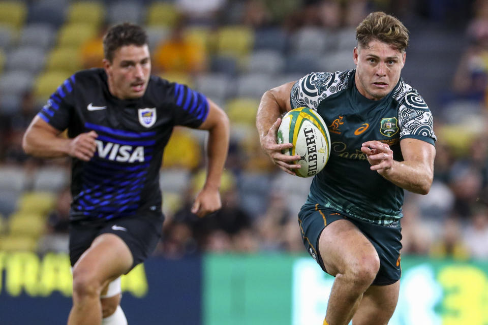 Australia's James O'Connor makes a run during the Rugby Championship test match between the Pumas and the Wallabies in Townsville, Australia, Saturday, Sept. 25, 2021. (AP Photo/Tertius Pickard)