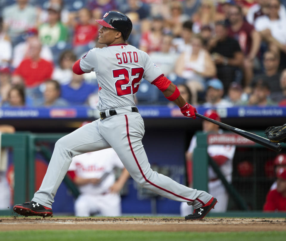 Juan Soto is having a remarkable rookie season, so much so that an opposing team's announcer has questioned his age. (AP)