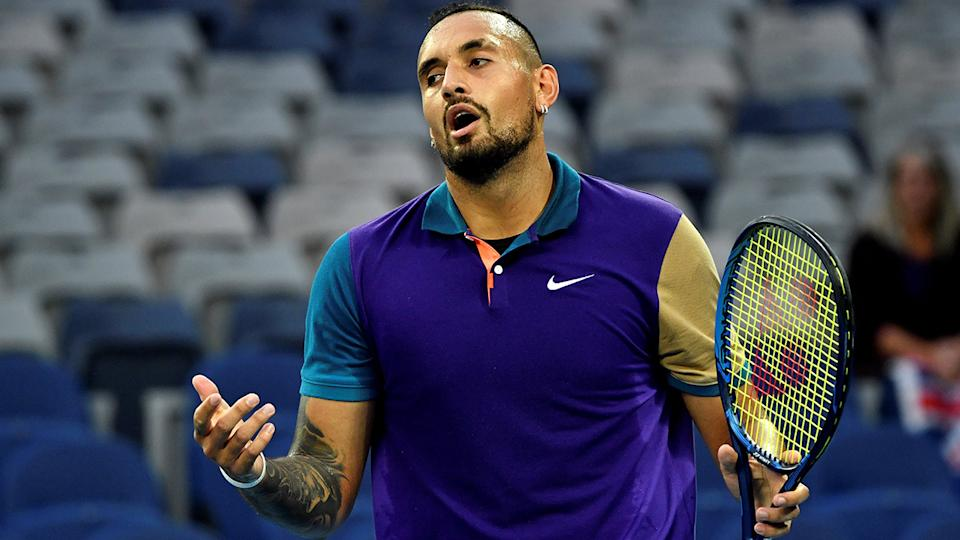 Nick Kyrgios, pictured here in action against Frederico Ferreira Silva at the Australian Open.