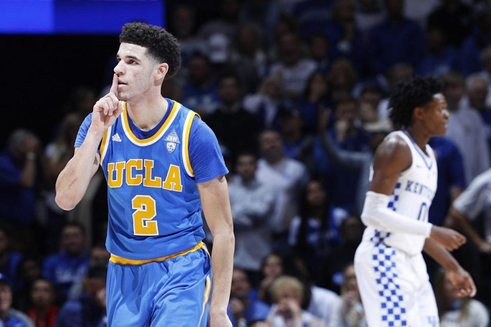 Lonzo Ball (L) and UCLA could play Kentucky for the second time this season in the Sweet 16. (Getty)
