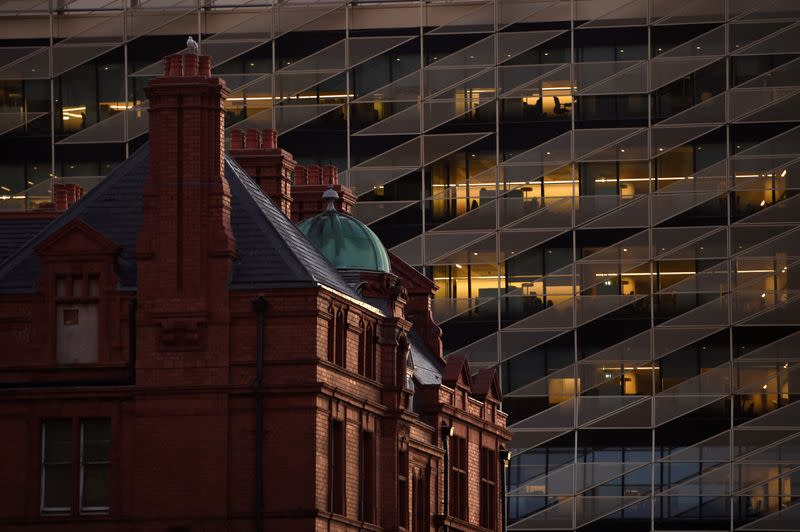 FILE PHOTO: Offices in the Central Bank of Ireland are seen in the financial district in Dublin