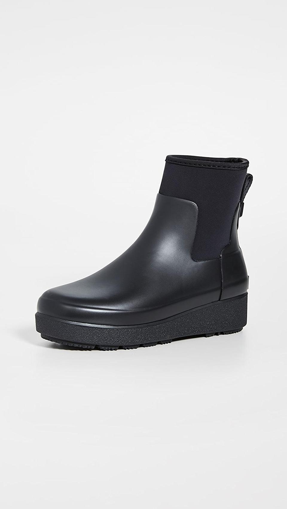 <p>If you need a rain boot, go for these <span>Hunter Boots Refined Creeper Neo Chelsea Boots</span> ($155). We didn't even know they were waterproof when we first saw them, we just loved the look.</p>
