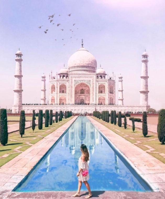 Somehow Amelia managed to get the perfect crowd-free snap at the iconic Indian landmark. Photo: Instagram