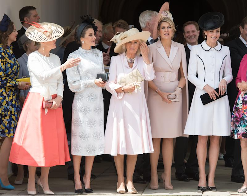 WINDSOR, ENGLAND - JUNE 17: Sophie, Countess of Wessex, Queen Letizia of Spain, Camilla, Duchess of Cornwall, Queen Maxima of the Netherlands and Catherine, Duchess of Cambridge attend the Order of the Garter at St George's Chapel on June 17, 2019 in Windsor, England. (Photo by Pool/Samir Hussein/WireImage)
