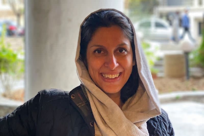 A British-Iranian aid worker, Nazanin Zaghari-Ratcliffe, poses for a photo after she was released from house arrest in Tehran