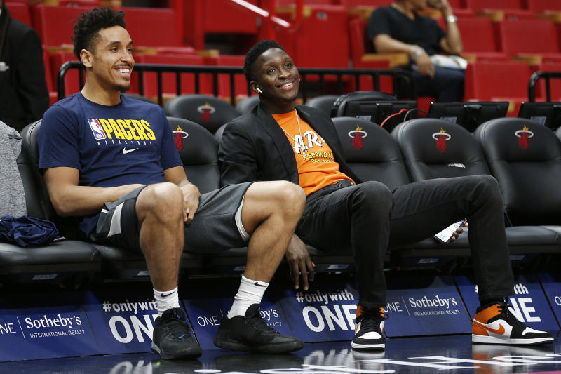 Malcolm Brogdon and Victor Oladipo have only played 242 minutes together this season. (Michael Reaves/Getty Images)