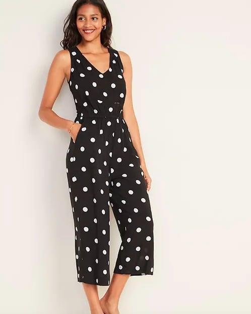"<p>Made of supersoft fabric and available in four colorways, <a href=""https://www.popsugar.com/buy/waist-defining-jumpsuit-476359?p_name=this%20waist-defining%20jumpsuit&retailer=oldnavy.gap.com&pid=476359&price=45&evar1=fab%3Aus&evar9=46462273&evar98=https%3A%2F%2Fwww.popsugar.com%2Ffashion%2Fphoto-gallery%2F46462273%2Fimage%2F46463061%2FComfy-Jumpsuit&list1=shopping%2Cold%20navy&prop13=mobile&pdata=1"" rel=""nofollow"" data-shoppable-link=""1"" target=""_blank"" class=""ga-track"" data-ga-category=""Related"" data-ga-label=""https://oldnavy.gap.com/browse/product.do?pid=451049012&amp;cid=1044743&amp;pcid=10018&amp;grid=pds_57_497_1#pdp-page-content"" data-ga-action=""In-Line Links"">this waist-defining jumpsuit</a> ($45) will be an instant favorite. Despite its lack of sleeves, you'll still get loads of use out of it come Fall. Just think how cute it'll look worn under a leather jacket or layered over a turtleneck.</p>"