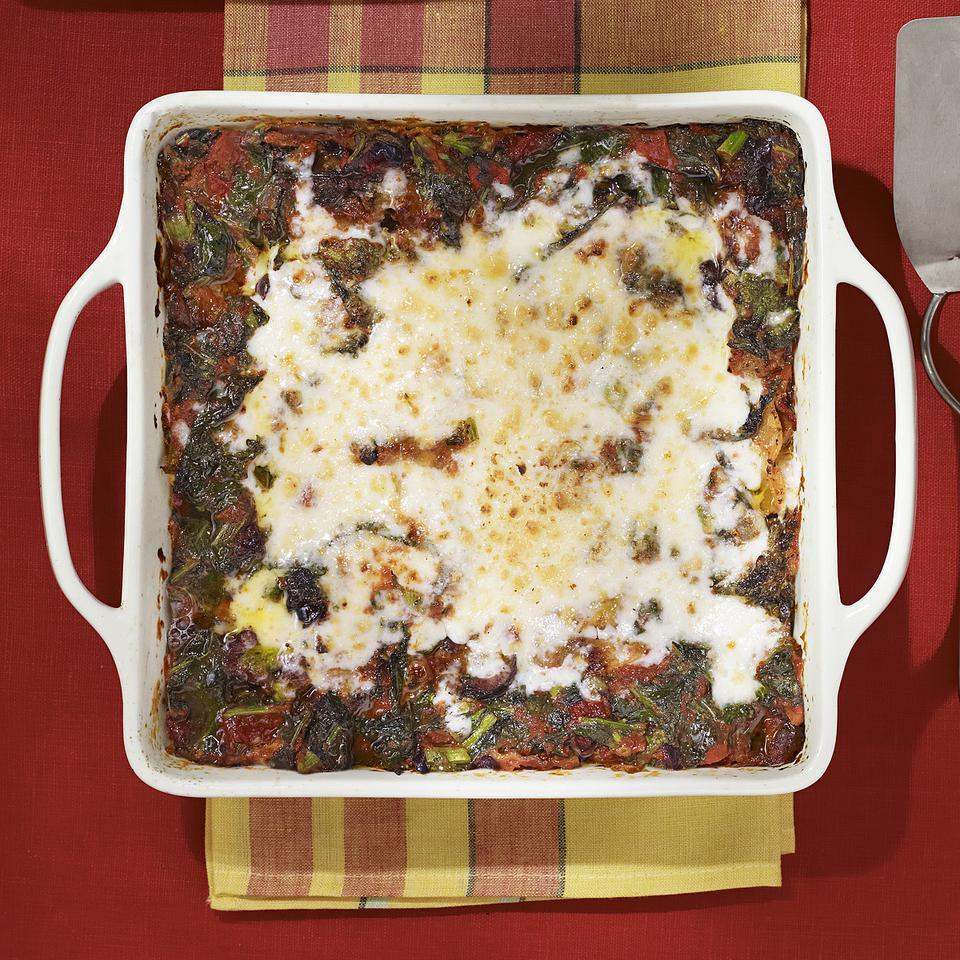 """<p>This healthy broccoli rabe and turkey sausage lasagna recipe has plenty of vegetables and goes light on sausage, so it's lower in fat and calories than traditional lasagna recipes. The recipe makes enough for two 8-by-8-inch casseroles (four servings each)--have one for dinner tonight and freeze the other for a night when you don't have time to make dinner. Or, feel free to make one larger lasagna (in a 9-by-13-inch pan) instead of two smaller ones; just increase the cooking time a bit for the larger pan size. <a href=""""http://www.eatingwell.com/recipe/250827/broccoli-rabe-turkey-sausage-lasagna/"""" rel=""""nofollow noopener"""" target=""""_blank"""" data-ylk=""""slk:View recipe"""" class=""""link rapid-noclick-resp""""> View recipe </a></p>"""