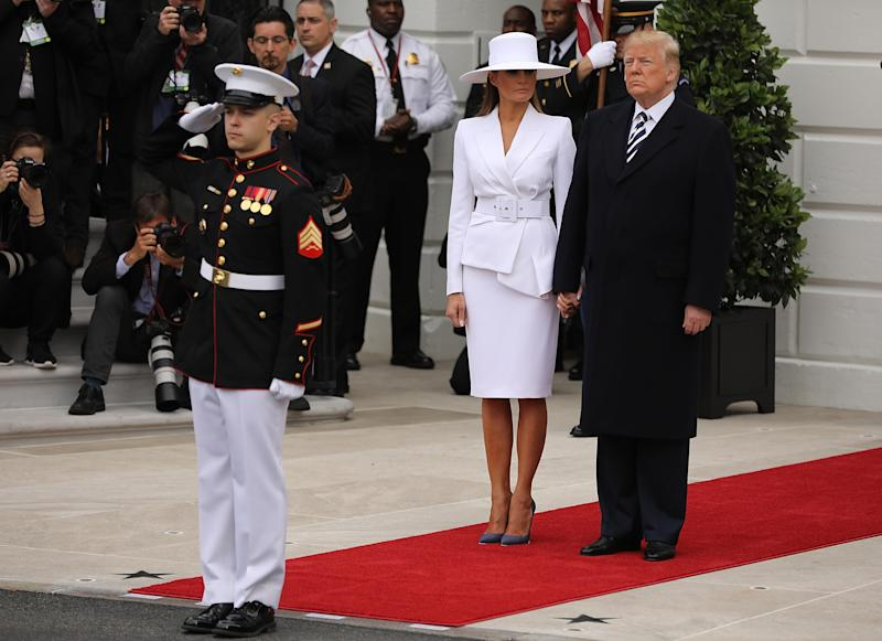 Melania Trump's Fierce Style as they welcome French President,Emmanuel Macron