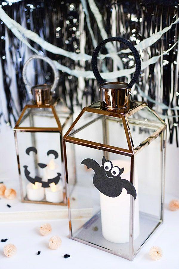 """<p>Add a playful touch to any lanterns you have littering your front steps—all you need is some cardstock. </p><p><a class=""""link rapid-noclick-resp"""" href=""""https://www.delineateyourdwelling.com/fall-jack-o-lantern/"""" rel=""""nofollow noopener"""" target=""""_blank"""" data-ylk=""""slk:GET THE TUTORIAL"""">GET THE TUTORIAL</a></p>"""
