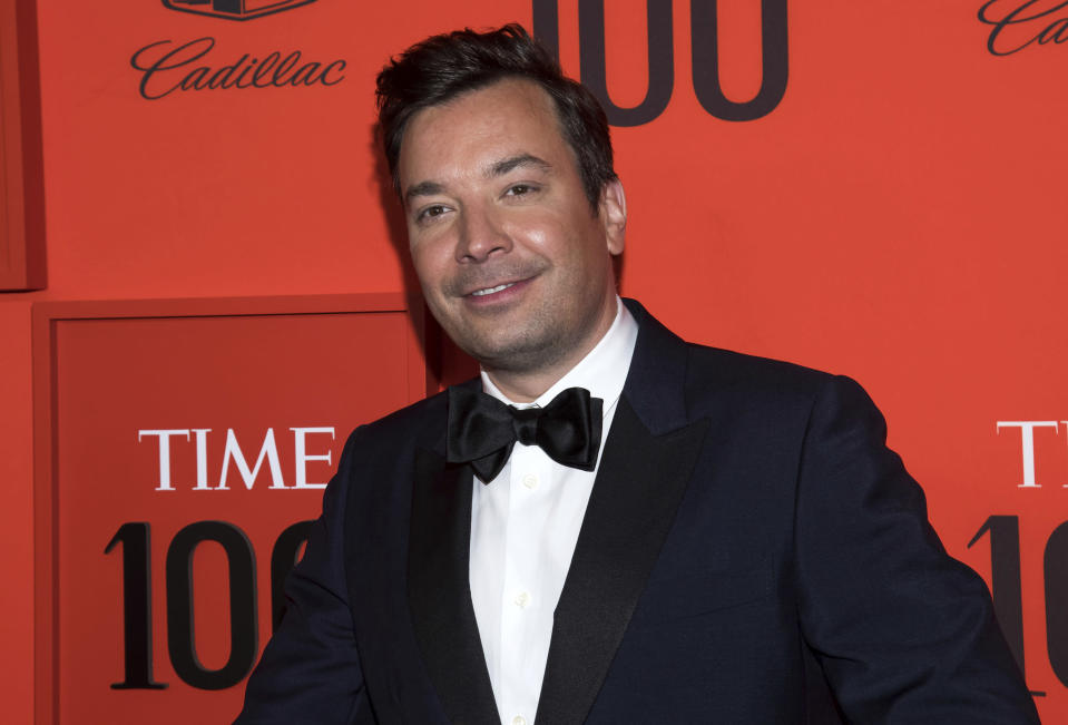 """FILE - In this April 23, 2019 file photo, Jimmy Fallon attends the Time 100 Gala in New York. The International Academy of Digital Arts and Sciences announced that Fallon is among the 2020 Webby Award winners in the celebrity and fan category for """"The Tonight Show Starring Jimmy Fallon."""" (Photo by Charles Sykes/Invision/AP, File)"""