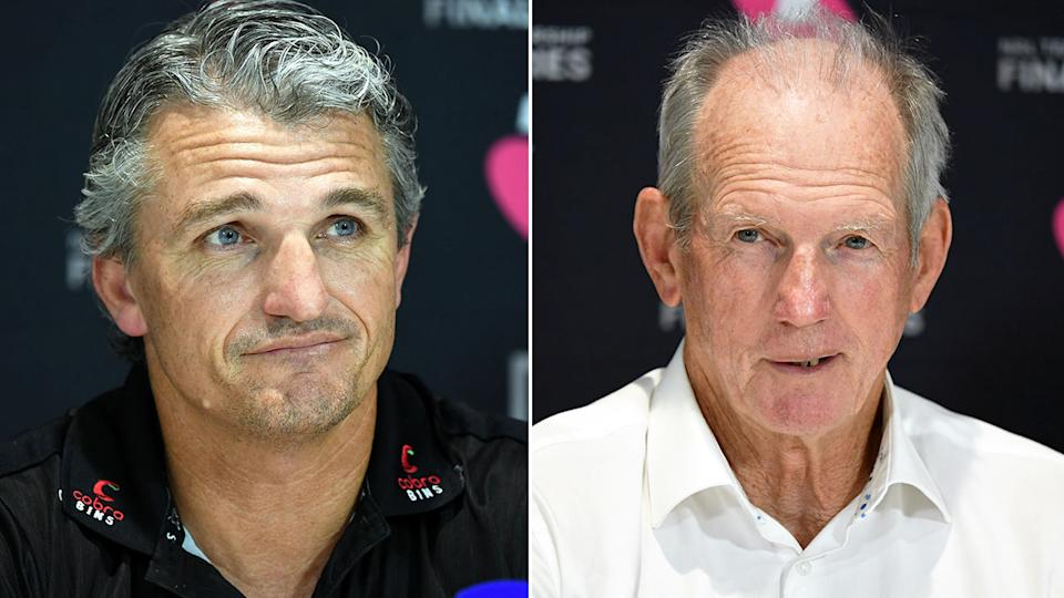 Pictured here, rival NRL coaches Ivan Cleary and Wayne Bennett speak after their week one finals clash.