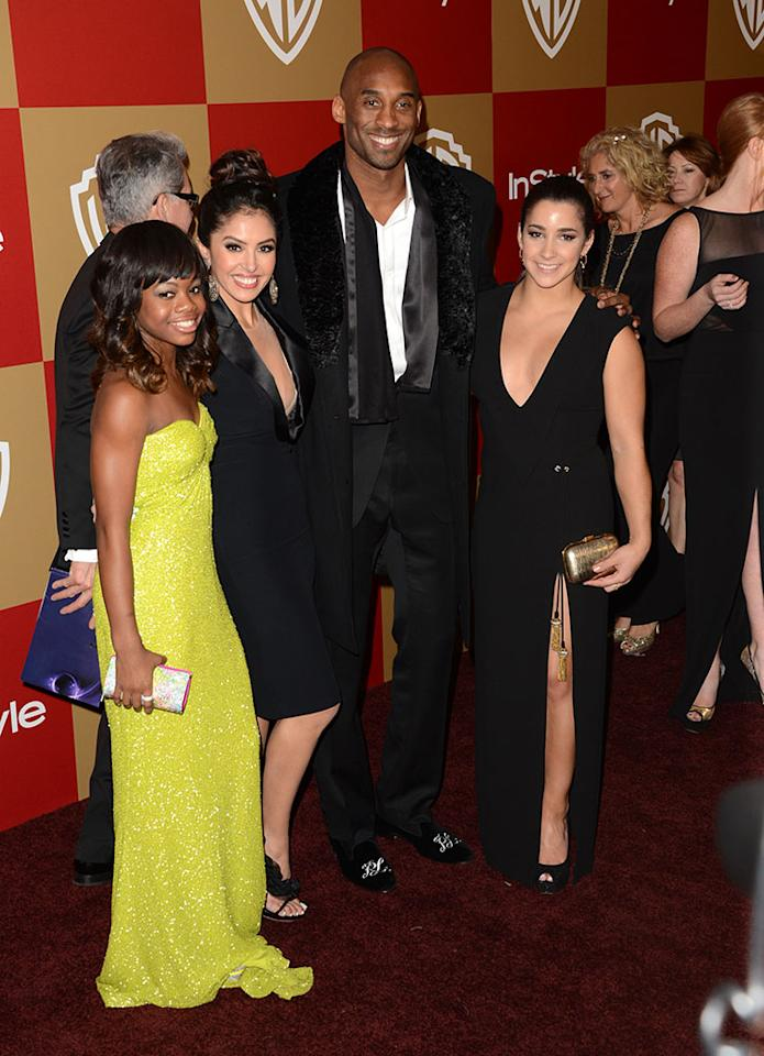 Gabrielle Douglas, Vanessa Bryant,  Kobe Bryant, and Aly Raisman attend the 14th Annual Warner Bros. And InStyle Golden Globe Awards After Party held at the Oasis Courtyard at the Beverly Hilton Hotel on January 13, 2013 in Beverly Hills, California.